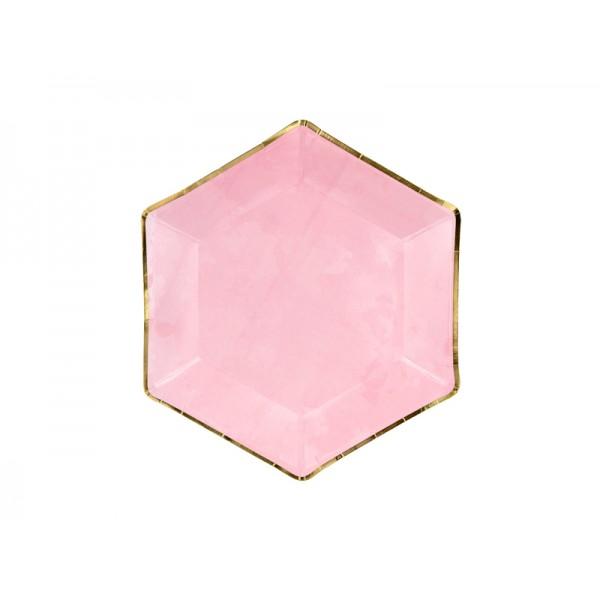 Talerzyki różowe ze złotymi brzegami 23cm 6szt