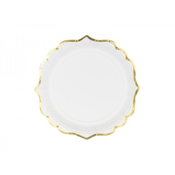Talerzyki białe ze złotym paskiem 18,5cm 6szt
