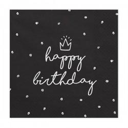 Serwetki papierowe Happy Birthday czarne 33x33cm 20szt