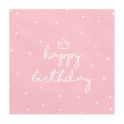 Serwetki Happy Birthday jasnoróżowe 33x33cm 20szt