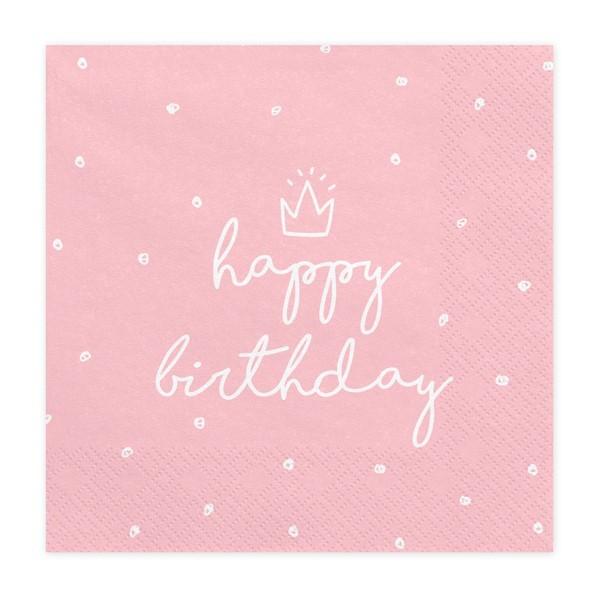 Serwetki Happy Birthday jasnoróżowe 33x33 cm 20 szt