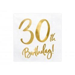 Serwetki 30 urodziny białe 33x33cm 20szt