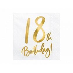 Serwetki 18 urodziny białe 33x33cm 20szt