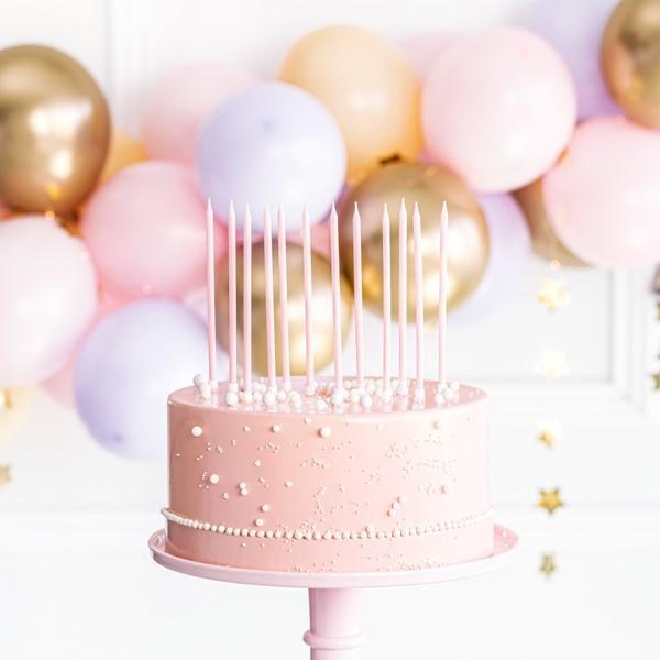 Świeczki na tort jasnoróżowe Wysokie 14cm 12szt