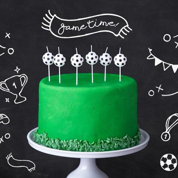 Świeczki urodzinowe Piłka Nożna 2,5cm 6szt