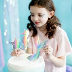 Toppery na tort Syrenka opalizujący 18-24,5cm