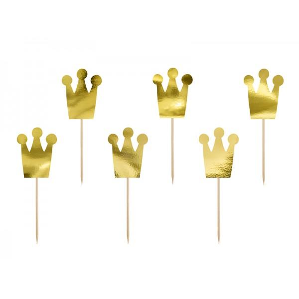 Piki Korony złote lustrzane 6szt