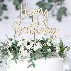 Topper na tort Happy Birthday drewniany 16,5cm