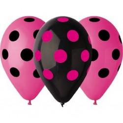 Balony Grochy pastelowe różowe i czarne 12cali 30cm 5szt