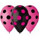 Balony pastelowe Grochy różowe i czarne 12cali 30cm 5szt