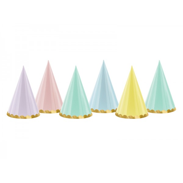 Czapeczki papierowe mix kolorów 6szt