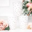 Kubeczki papierowe Kropki rose gold 260ml 6szt