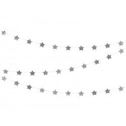 Girlanda Gwiazdki metaliczne srebrne 5x360cm