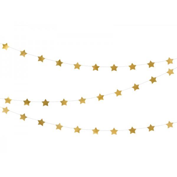 Girlanda Gwiazdki metaliczne złote 5x360cm