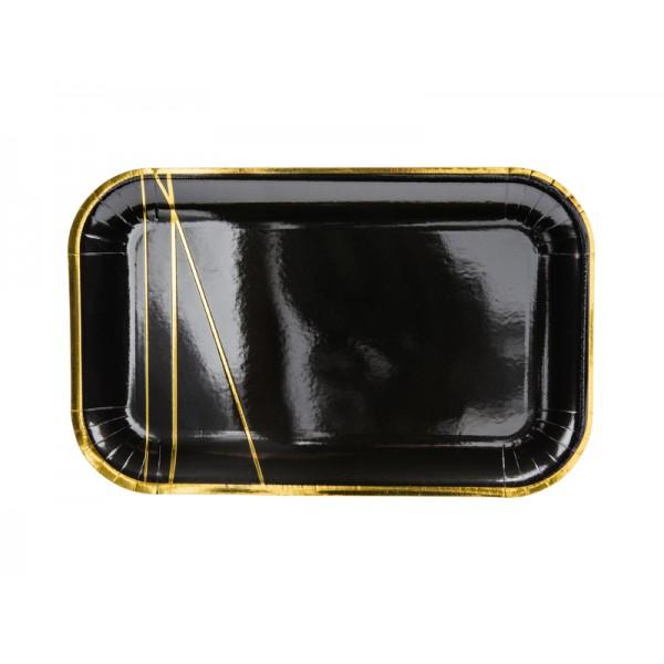 Talerzyki papierowe czarne 22x13,5cm 6szt