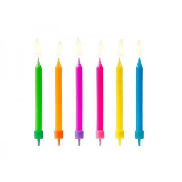 Świeczki urodzinowe kolorowe 6,5cm 6szt