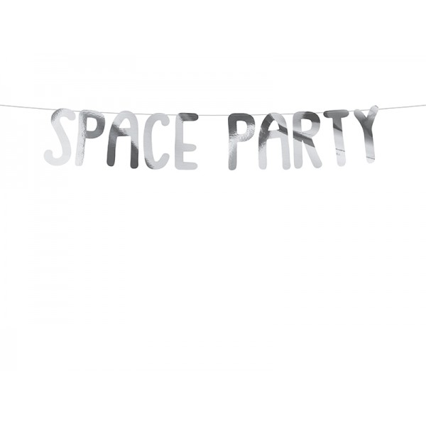 Baner Kosmos Space Party srebrny 13x96cm