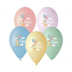 Balony pastelowe Happy Birthday Lisek 13cali 33cm 6szt