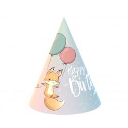 Czapeczki papierowe Happy Birthday Lis 6szt