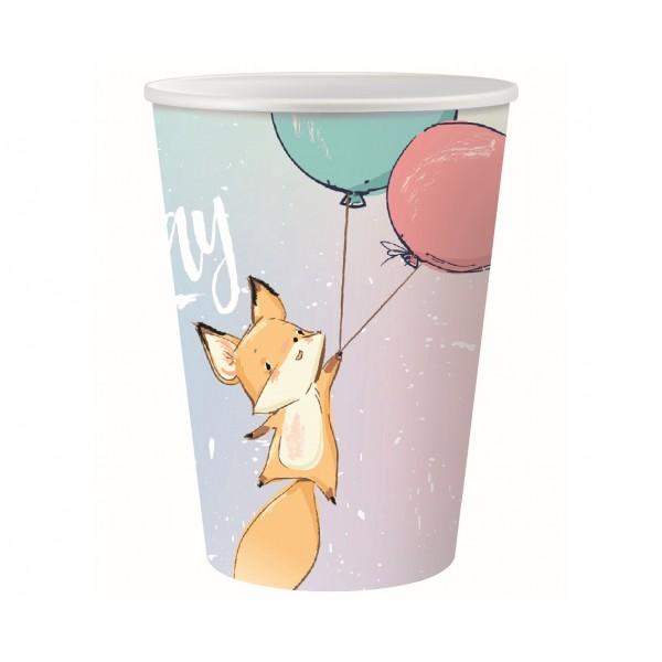 Kubeczki papierowe Happy Birthday Lis 220ml 6szt