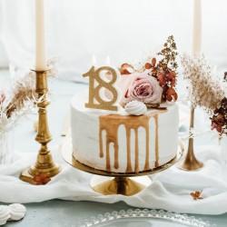 Świeczka urodzinowa 18 urodziny złota 7,5cm