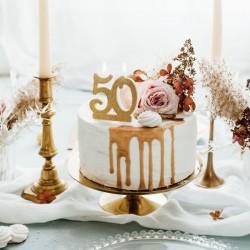 Świeczka urodzinowa 50 urodziny złota 7,5cm