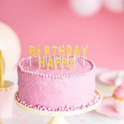 Świeczki urodzinowe Happy Birthday złote 2,5cm 13szt