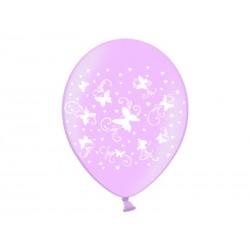 Balony metaliczne Motylki jasnoróżowe cukierkowe 12cali 30cm 5szt