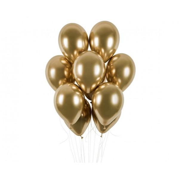 Balony chromowane złote 13cali 33cm 5szt