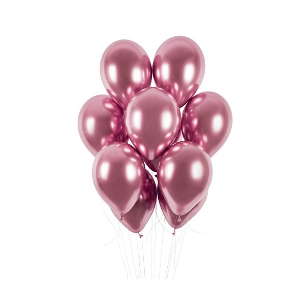 Balony chromowane różowe 13cali 33cm 5szt
