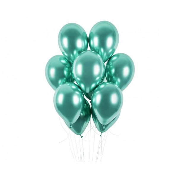 Balony chromowane zielone 13cali 33cm 5szt