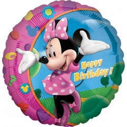 Balon foliowy Happy Birthday Myszka Minnie 18cali 46cm