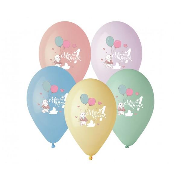 Balony pastelowe Mam już Roczek Króliczek 13cali 33cm 5szt
