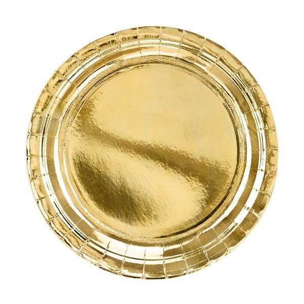 Talerzyki papierowe złote 23cm 6szt