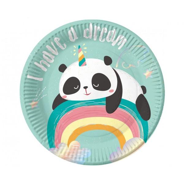 Talerzyki papierowe Panda 18cm 6szt