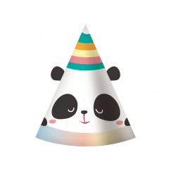 Czapeczki papierowe Panda Tęcza 6szt