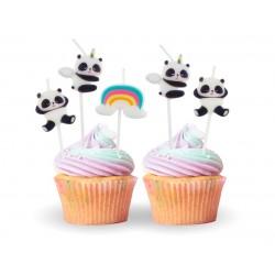 Świeczki urodzinowe Panda Tęcza 5szt