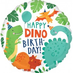 Balon foliowy Happy Birthday Dinozaury 17cali 43cm