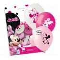 Balony lateksowe Myszka Minnie różowe 10cali 25cm 10szt