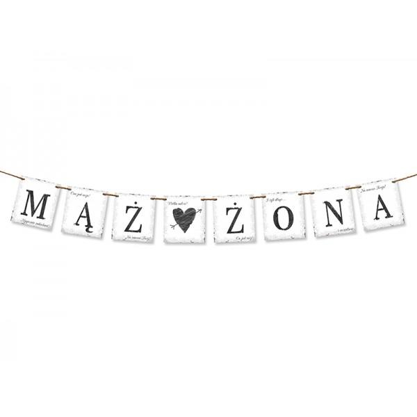 """Baner z napisem """"Mąż i Żona""""biały 100cm"""