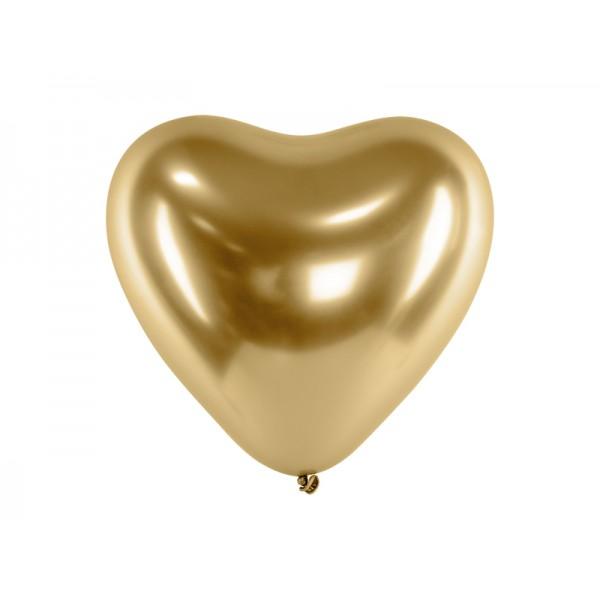 Balony chromowane Serca złote 12cali 30cm 5st