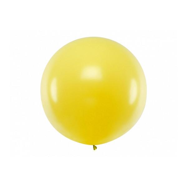 Balon Gigant pastelowy żółty 1metr