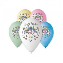 Balony Magiczna tęcza Jednorożec 12cali 30cm 5szt