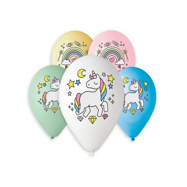 Balony pastelowe Jednorożec i tęcza 13cali 33cm 5szt