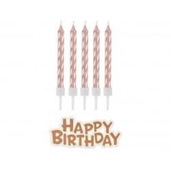 Świeczki urodzinowe Happy Birthday rose gold 16szt