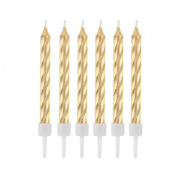 Świeczki urodzinowe zakręcone złote 12szt