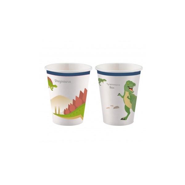 Kubeczki papierowe Dinozaury 250ml 8szt