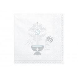 Serwetki papierowe na Chrzest Święty białe 33x33cm 20szt