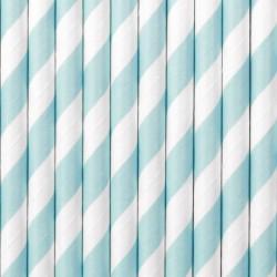 Słomki papierowe jasnoniebieskie w paski 10szt