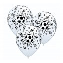 Balony pastelowe Piłka Nożna białe 12cali 30cm 6szt